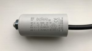 Italfarad Motor Run Capacitor 5uF Black Twin Lead