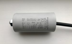 Italfarad Motor Run Capacitor 12uF Black Twin Lead